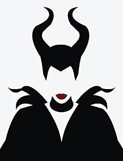 LA DECAL Beautiful girl devil maleficent car truck SUV window laptop Kitchen wall macbook decal sticker 6 inches black/RED