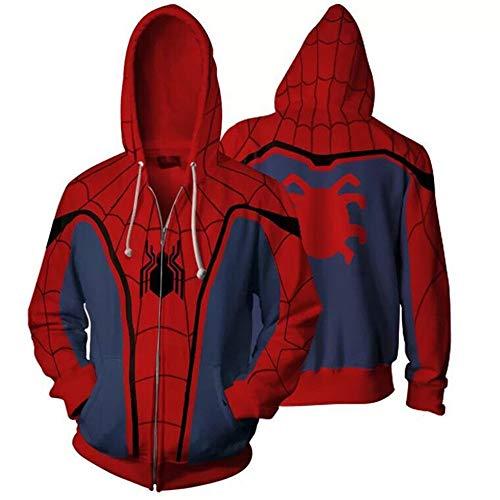 Zhuwy Herren Hoodie Kapuzenpullover Tunnelzug Pullover Langarm Sweatshirt 3D Druck Unisex Kapuzenjacke Mit Taschen Spider-Man XL