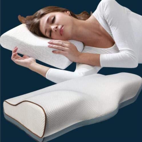 TKAISGFJQ Cojín ergonómico de Apoyo con Forma de Mariposa-alas para Dormir, Almohada de Espuma viscoelástica para extensión de pestañas para aliviar el Dolor