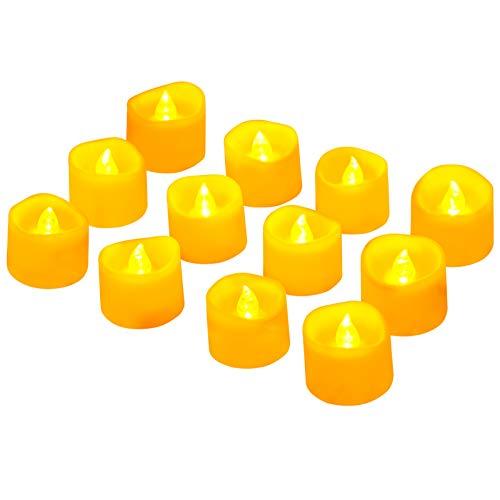 Led Teelicht Led Kerze, Adoric 12 x Led flammenlose Kerzen led Teelicht mit Timer elektrische flackernde batteriebetriebene Kerzen für Halloween Weihnachtsdeko Party Hochzeit, warm weiß