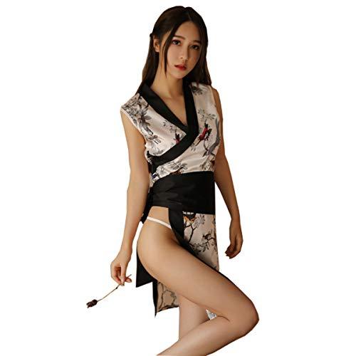 Yameidie Womens Sexy Cheongsam Lingerie Dress Japanese Anime Nightwear Kimono Costumes Nightgown Chemise (White)