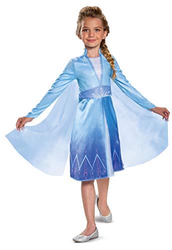 Disguise Disney Elsa Frozen 2 Classic Girls' Halloween Costume Blue, Small (4-6)