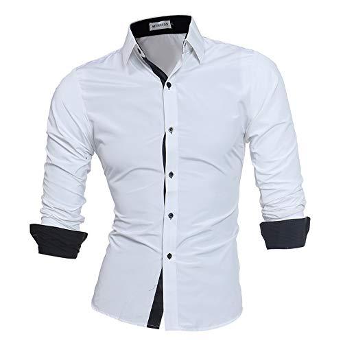 Camisa de Manga Larga para Hombre, Ajustada, Informal, de Negocios, Formal, con Botones, para Trabajo de Oficina, Eventos Formales e Informales 4XL
