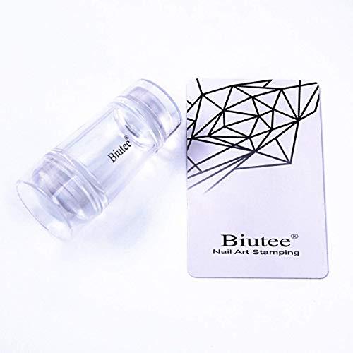 Biutee Tampon Stamping Nail Art Transparent en Silicone Manucure de Stamping Grattoir Impression Tampon & Raclette