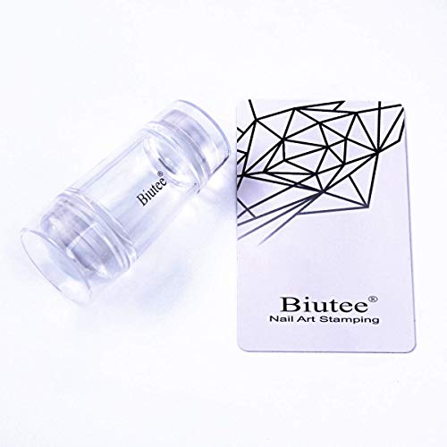 BIUTEE Tampon Transparent Jelly avec Grattoir en Silicone Double Tête Tampon Stamping Nail Art pour Ongle