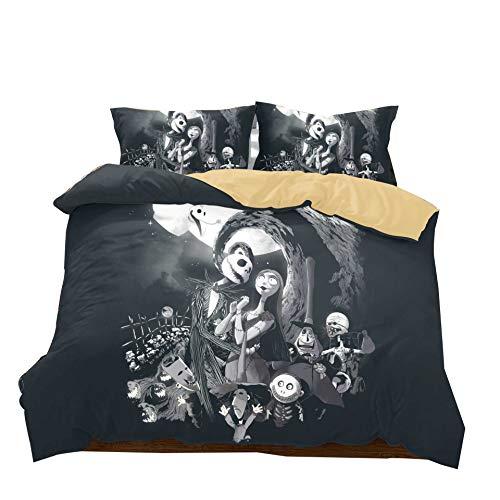 pesadilla antes de Navidad Juego de cama de 3 piezas Funda nórdica de 1 pieza con funda de almohada de 2 piezas sin edredón