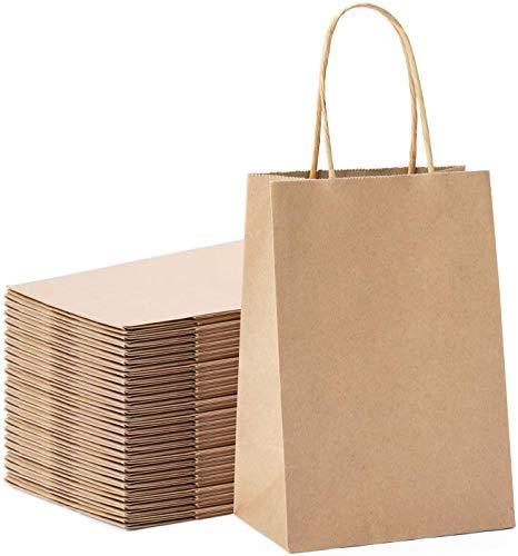 Switory Bolsa de regalo Kraft de 50 piezas, bolsa de papel de compras marrón de 13x9,5x20cm con asas retorcidas para fiesta, embalaje, personalización, transporte, venta al por menor
