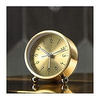 置き時計, デスククロックバッテリーは置時計リビングルームのインテリアシンプルでモダンなベッドルームサイレント北欧メタルフレーム装飾クォーツ時計を運営しました,デスククロック (Size : S)