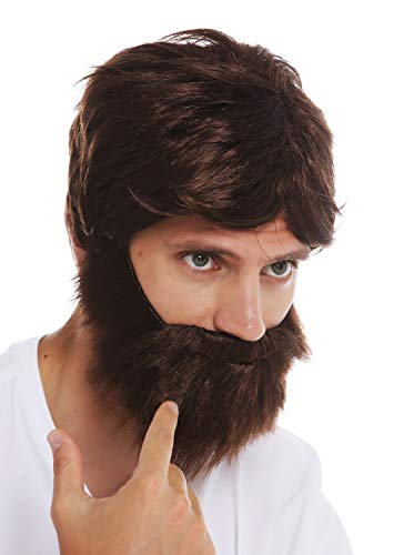 WIG ME UP- 31998-P4 Peluca y Barba Set Carnaval Hombres castaño Salvaje despeinado descuidado