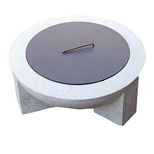 DFKDGL Fire Pits Bowls, for Garden Bbq Large Wood Burning with Grill And Lid, Stone Table, Cast Iron, Outdoor Firepit for Log Burning, 3 in 1, Mat for Decking, for outside Patio, Camping 75 Cm fire