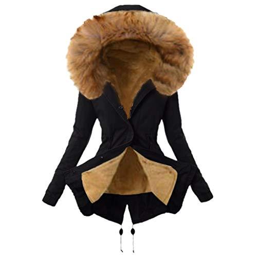 Manteau Femme Fausse Fourrure Capuche Long Hiver ÉPais Chaud Coton Chic Elegan Slim Veste Pas Cher A La Mode Manches Longues Outwear (S(EU34), Noir)