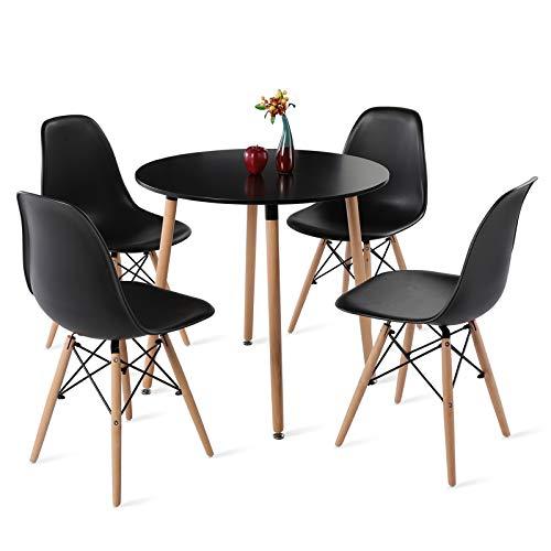 H.J WeDoo Esstisch mit 4 Stühlen Runder Esstisch Retro Design Küchentisch und Moderner Stuhl für Esszimmer Küche Wohnzimmer, Schwarz
