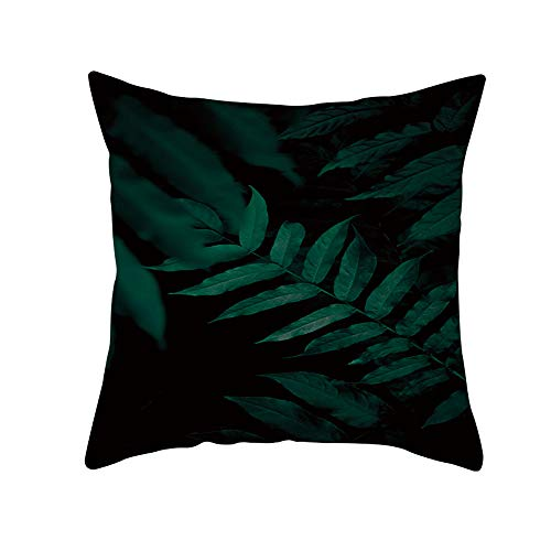 HMboom Kussensloop, Kussensloop Fluweel Decoratief 18 x 18inch/45 x 45cm (2 sets) voor decor bank woonkamer auto. Vierkant, Fluweel, Groene planten afdrukken