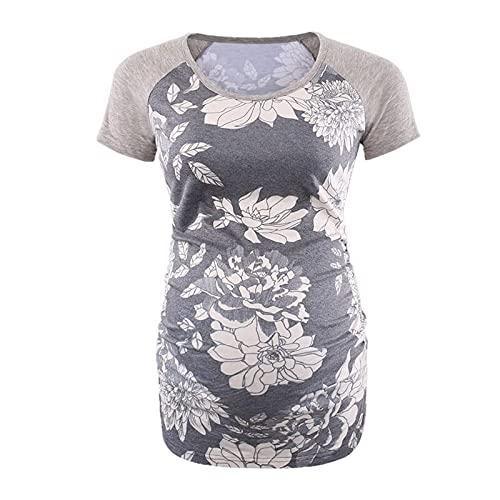 Camiseta de maternidad de manga corta con cuello redondo y estampado para mujer (1 #, XL)