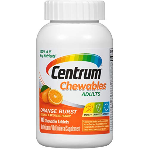 Centrum Chewables Adults Multivitamin and Multimineral Supplement Orange -100 Chewable Tablets