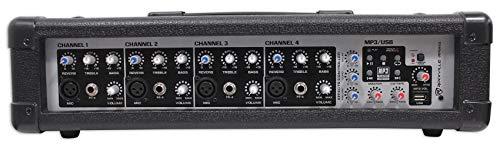 Rockville RPM45 2400w Powered 4 Channel Mixer, USB, 3 Band EQ, Effects, Phantom