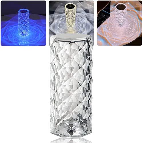 Lámpara de mesa de diamante de cristal, control táctil que cambia de color, lámpara de escritorio de noche simple y moderna LED, lámpara de noche con carga USB, decoración moderna del hogar