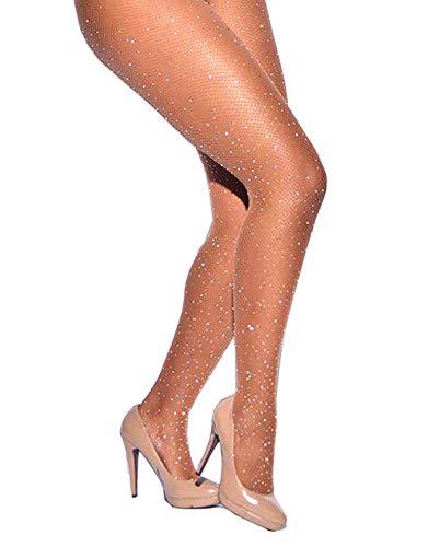 Women's Fishnet Stockings Sparkle Glitter Rhinestone, Brown, Size One Size