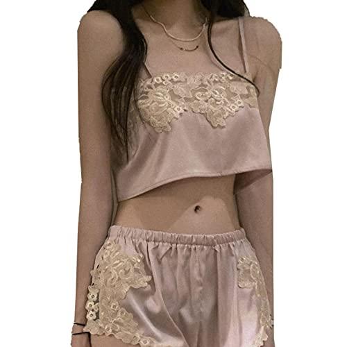 TIANLU Conjunto de pijama de camisola y pantalón corto de satén de encaje para mujer(Rosa/Talla única)