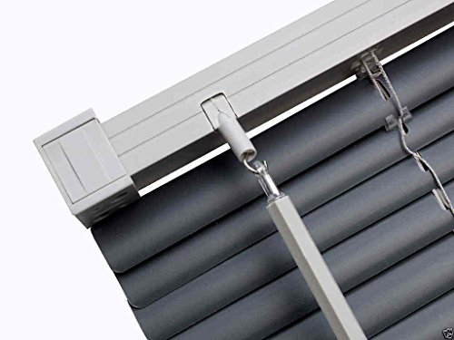 Easy-Fit PVC Venetian Window Blinds Trimmable Home Office Blind New (Slate Grey (Contrast), 135cm x 150cm)