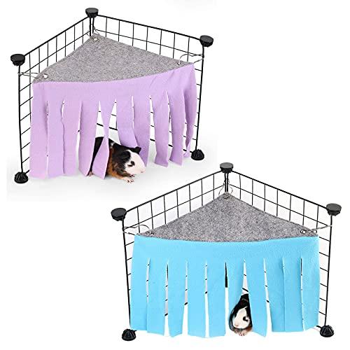 2st marsvin gömmer sig små husdjur gömställe hörn med 3 krokar bur tillbehör, hörn peekaboo leksaker bur dekorationer gömställe gardin,Blue purple