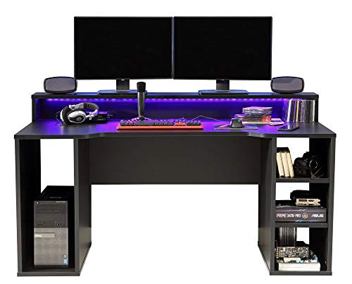 Forte Computer PC-Tisch Gamer 211 in Schwarz incl. LED-Beleuchtung