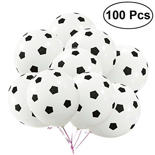 Toyvian 100Pcs Globo de Fiesta de 12 Pulgadas Globos de látex de fútbol Globos de cumpleaños Kit para la decoración
