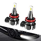 SEALIGHT H8 H11 H16 LED Fog Light Bulb, 6200 Lumens 6000K Xenon White Super Bright CANBUS LED Lights, Halogen Fog Light Bulb Replacement for Cars Trucks Vans, Pack of 2