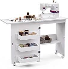 Sewing Table with Storage, Foldable Sewing Extension Table Art Craft Desk with Adjustable Shelf Hidden Bins, Cabinet with Lockable Casters, Open/Fold (White)
