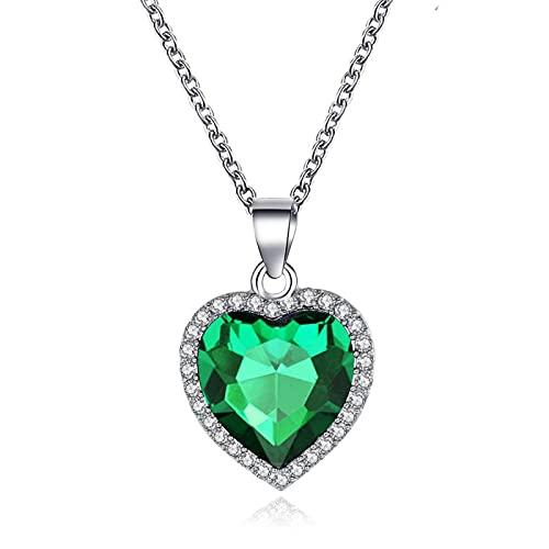 Collares Joyería Colgantes Collar con Colgante De Corazón Amor para Siempre para Mujeres, Hombres, Joyería, Regalo, Verde