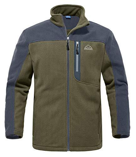 Rdruko Men's Fleece Jackets with Full Zipper Stand Collar Soft Lightweight Zip Up Polar Fleece Casual Winter Outwear(Green, US XL)