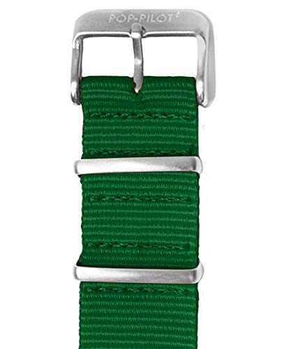 Pop Pilot Damen Stoff Uhrenarmband Green L 22mm