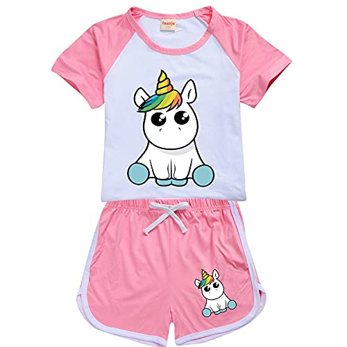LIYIMING Pyjamas für Mädchen Unicorn Pjs Sets Kinder Sommer Kurzarm Nachtwäsche (01,9-10Y)