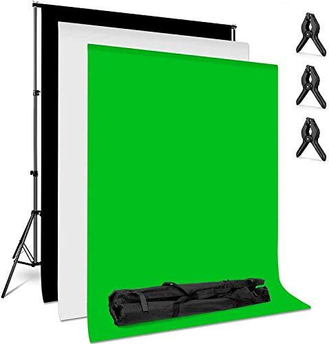 amzdeal Soporte para fondo 2MX3M de fondo blanco/negro/verde para fotos de fondo fotográfico, kit de fotografía de productos y grabación de vídeo fondos para fotos y retratos