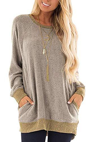 Damen Langarmshirt Casual Sweatshirt Farbblock T-Shirt Rundhals Blusen Top Pullover Oberteile mit Taschen (252-Khaki, Large)