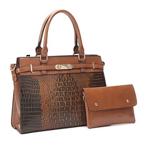 ZOCAI Damenhandtasche, modische Umhängetasche aus Kunstleder, zweiteilige Einkaufs- / Arbeitstasche (Krokodilleder-Muster) (2169-braun)