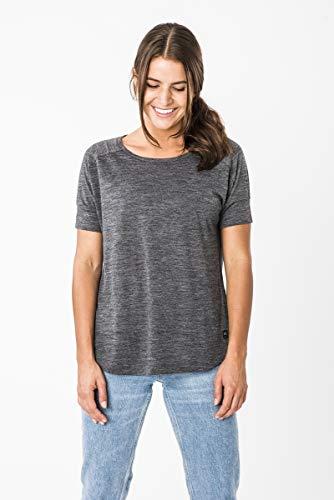 super.natural Tee-shirt Confortable pour Femmes, Laine mérinos, W ISLA TEE, Taille: L, Couleur: Noir chiné