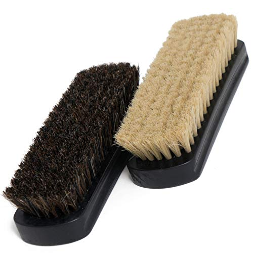 "7"" Horsehair Shoe Brushes (2pcs) – 2 Color Hair Made for Light & Dark Shoes or Boots"