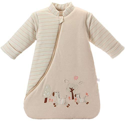 Chilsuessy Baby Schlafsack mit abnehmbaren Ärmeln Winter Angedickte, Hellbraun/3.5 Tog, M/Körpergröße 75-85cm