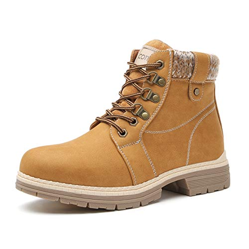 Winter Snow Hiking Boot for Women - Casual Brown Combat Non-slip Work Ankle Boot Clearance Backpacking Boots Leather Waterproof Hiking Shoes Wedge Platform Heel Booties LMW18-CAMEL-10
