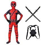 Deadpool Disfraz Bodysuit Superhéroe Imprimir 3D Cosplay Fancy Dress Traje Jumpsuit para Adultos Niños Halloween Carnival Onesies con Accesorios,Deadpool-130~140cm