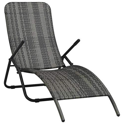 vidaXL Chaise Longue Pliable Chaise Longue de Jardin Chaise Longue de Patio Chaise Longue de Balcon Terrasse Extérieur Résine Tressée Gris