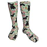 SunnyWarm Scottie Dog Florals Scottish Sportsocken Gepolsterte Wandersocken Crew Athletic Socks für...