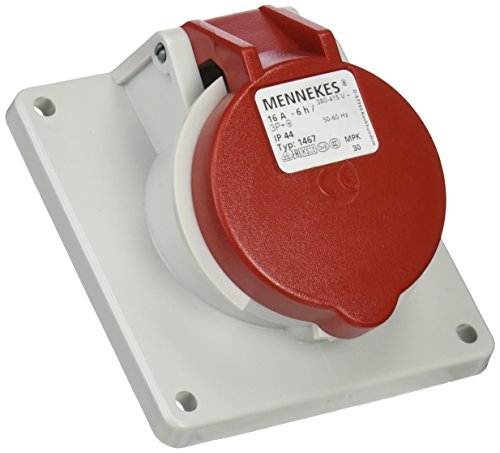 Mennekes 101100228Grundlagen Semi Einbauleuchte EWG, Steckdosen, 400V, 50–60Hz, 16A, 4-polig, IP 44, 90mm x 100mm Rahmen, 10, rot