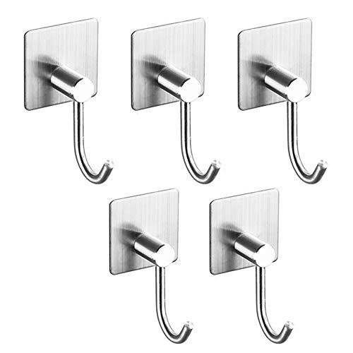 MDFQL Adhesive Hooks Heavy Duty Wall Hooks Waterproof Stainless Steel Hooks, Wall Hangers Towel Hanger Holder, for Hanging Coat, Hat, Towel Robe, 5-Packs,D