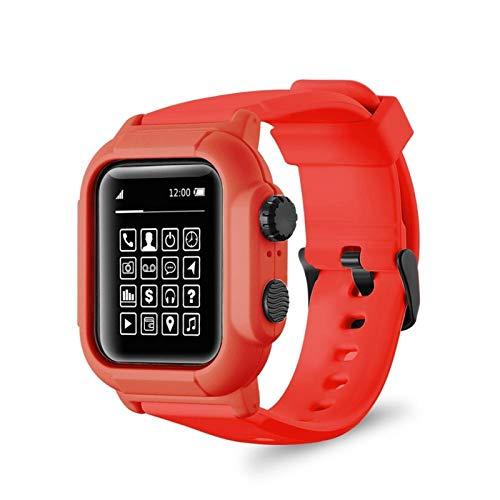LLMXFC Cubierta de la Caja de Silicona Impermeable IP68 Correa de Banda Deportiva para iWatch para Apple Watch Series 6 5 4 3 2 Se 42mm 44mm 44 42 mm Accesorios (Color : Red, Dial Diameter : 42mm)