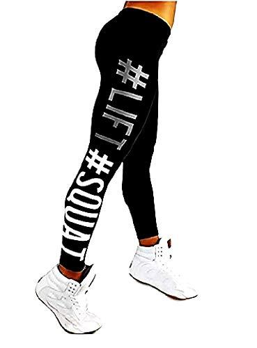 Leggings Fitness Donna - Sportivi con Stampa - Allenamento - Palestra - Yoga - Pilates - Collant - Gym - Nero - Idea Regalo Natale e Compleanno