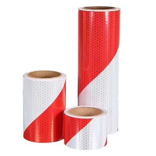 Alamor 5 Cm / 10 Cm / 20 Cm Advertencia De Tráfico Seguridad Nocturna Tiras Reflectantes Rojo Blanco Bias Cinta Adhesiva - 20CM