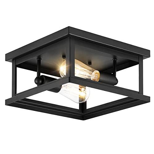Drosbey 2-Light Flush Mount Ceiling Light Fixture, Farmhouse Light...