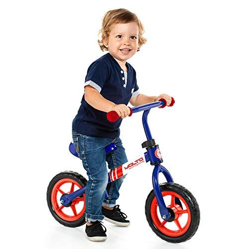 Bicicletta senza pedali da bambino/a Minibike Molto - senza casco. Manubrio e sedile regolabile in altezza (Blu - con casco)